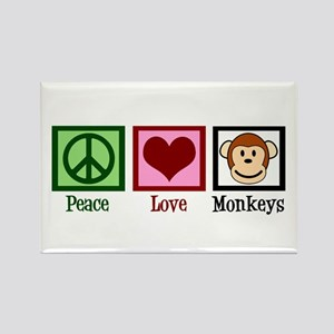 Peace Love Monkeys Rectangle Magnet