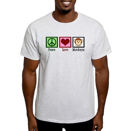 Peace Love Monkeys Light T-Shirt