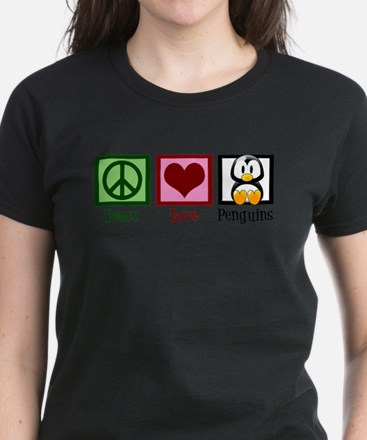 Peace Love Penguins Women's Dark T-Shirt