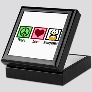 Peace Love Penguins Keepsake Box