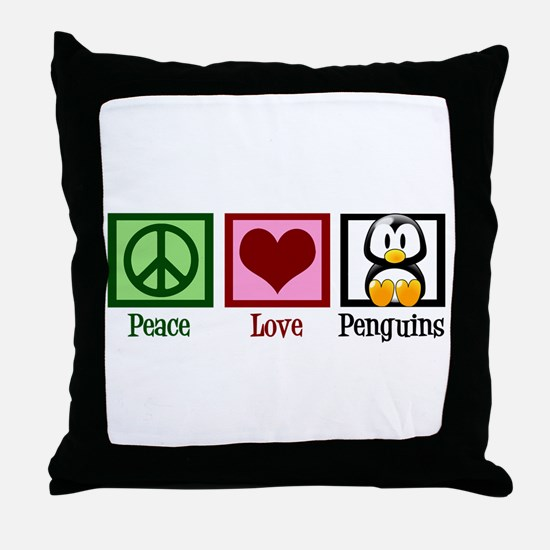 Peace Love Penguins Throw Pillow