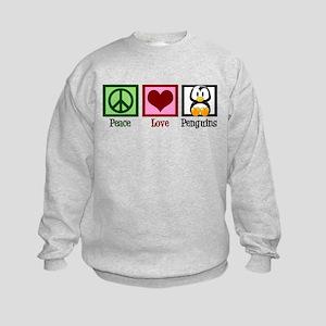 Peace Love Penguins Kids Sweatshirt