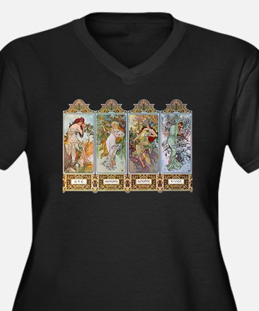 Alphonse Mucha Women's Plus Size V-Neck Dark T-Shi