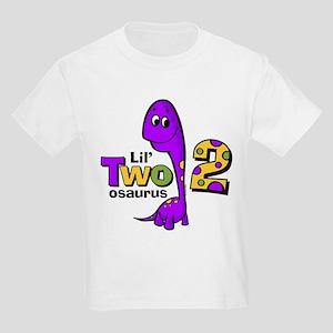 Purple Dinosaur 2nd Birthday Kids Light T Shirt