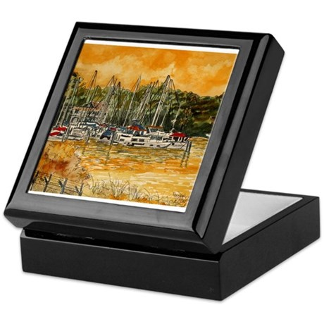 abstract beach sailboats art Keepsake Box