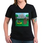 Outhouse or Phone Boot Women's V-Neck Dark T-Shirt