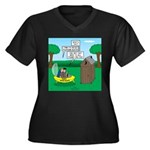 Outhouse or Women's Plus Size V-Neck Dark T-Shirt