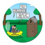 Outhouse or Phone Booth Round Car Magnet