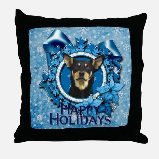 Blue Snowflakes - Kelpie Throw Pillow