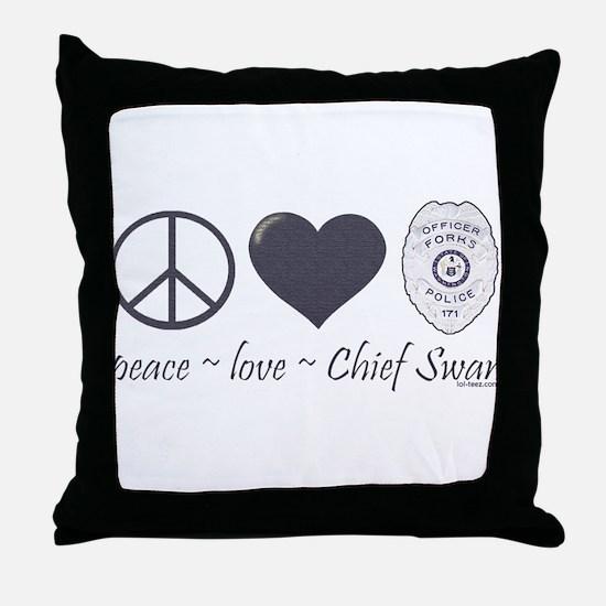 Peace Love Chief Swan Throw Pillow
