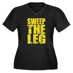 Sweep The Leg Women's Plus Size V-Neck Dark T-Shir