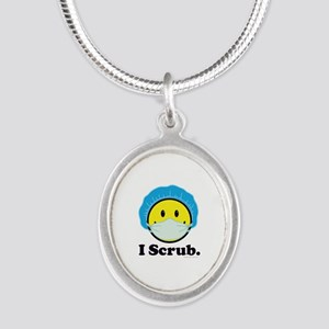I Scrub Surgical Tech Silver Oval Necklace