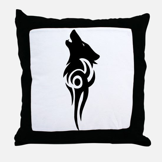 Funny Howling wolf Throw Pillow