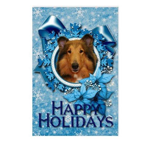 Blue Snowflakes - Collie Postcards (Package of 8)