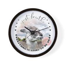Inspirational Llama Just Breathe Wall Clock