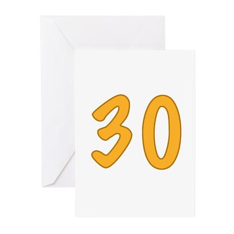 30th Birthday (Orange) Greeting Cards (Pk of 10)