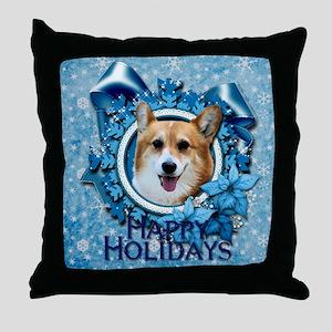Blue Snowflake - Corgi Throw Pillow