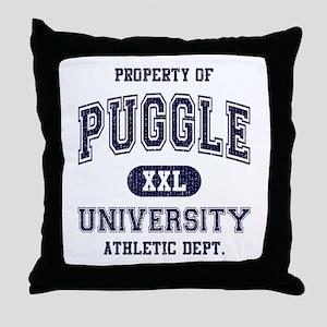 Puggle University Throw Pillow