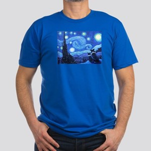 Starry Night Border Collies Men's Fitted T-Shirt (