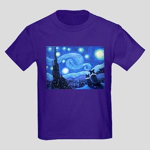 Starry Night Border Collies Kids Dark T-Shirt
