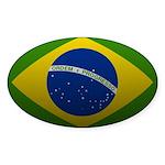 Brazil Flag Rounded Oval Sticker