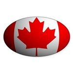Canada Flag Rounded Oval Sticker
