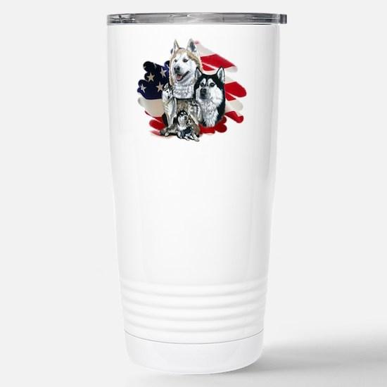 Cute Siberian huskies Travel Mug