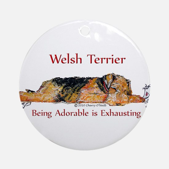 Exhausted Welsh Terrier Ornament (Round)