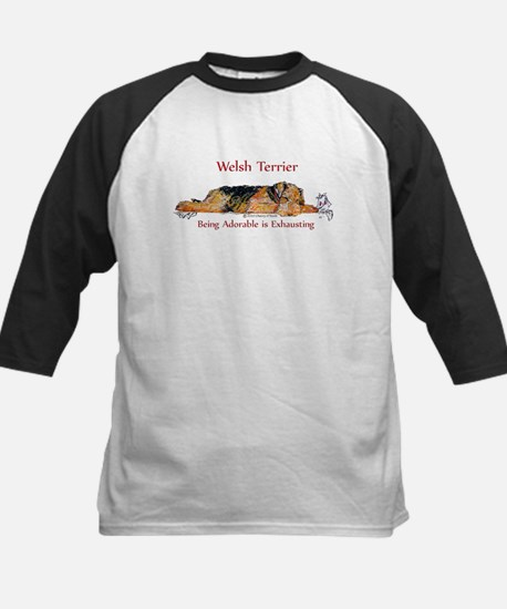 Exhausted Welsh Terrier Kids Baseball Jersey