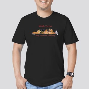 Exhausted Welsh Terrier Men's Fitted T-Shirt (dark