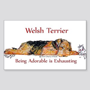 Exhausted Welsh Terrier Sticker (Rectangle)