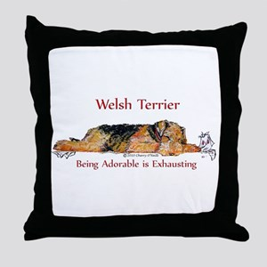 Exhausted Welsh Terrier Throw Pillow