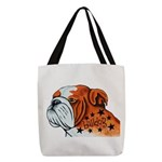 Bulldog Art Polyester Tote Bag