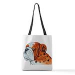 Bulldog Art Polyester Tote Bag