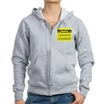 WARNING: College Student Women's Zip Hoodie