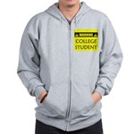WARNING: College Student Zip Hoodie