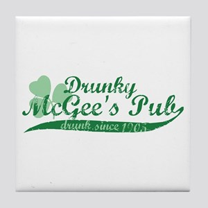 Drunky McGee's Pub - Drunk Since 1905 Tile Coaster