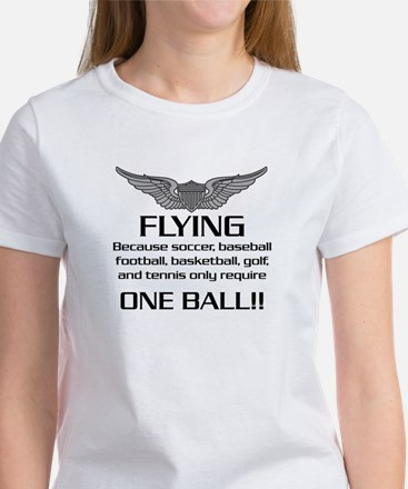 Flying... One Ball! - Army Style Women's T-Shirt