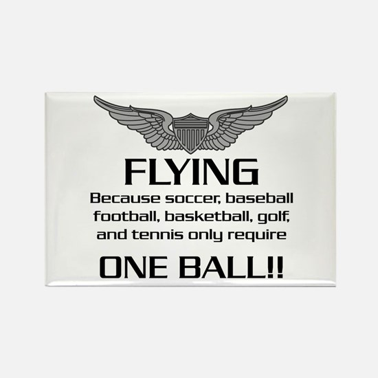 Flying... One Ball! - Army Style Rectangle Magnet