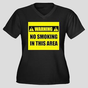 WARNING: No Smoking Women's Plus Size V-Neck Dark