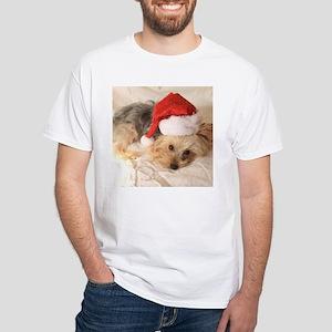 Santa Yorkie - White T-Shirt