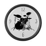 Drum Set Silhouette Music Wall Clock Gift