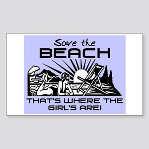SAVE THE BEACH-GIRLS Sticker (Rectangle)