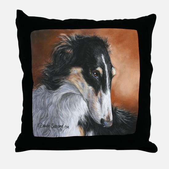 Borzoi by Dawn Secord Throw Pillow