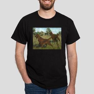 Irish Setter Hunting Scene Dark T-Shirt