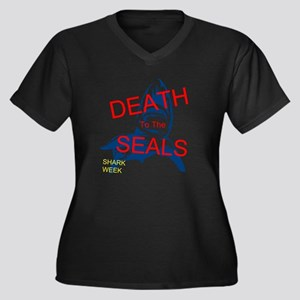 Shark Week Women's Plus Size V-Neck Dark T-Shirt