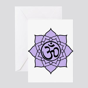 Purple Om Lotus Blossom Greeting Card