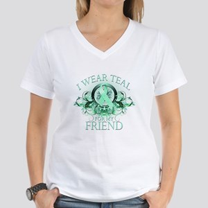 I Wear Teal for my Friend Women's V-Neck T-Shirt