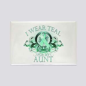 I Wear Teal for my Aunt (floral) Rectangle Magnet