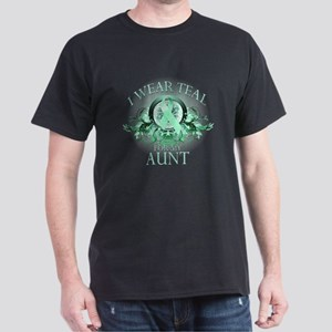I Wear Teal for my Aunt (floral) Dark T-Shirt